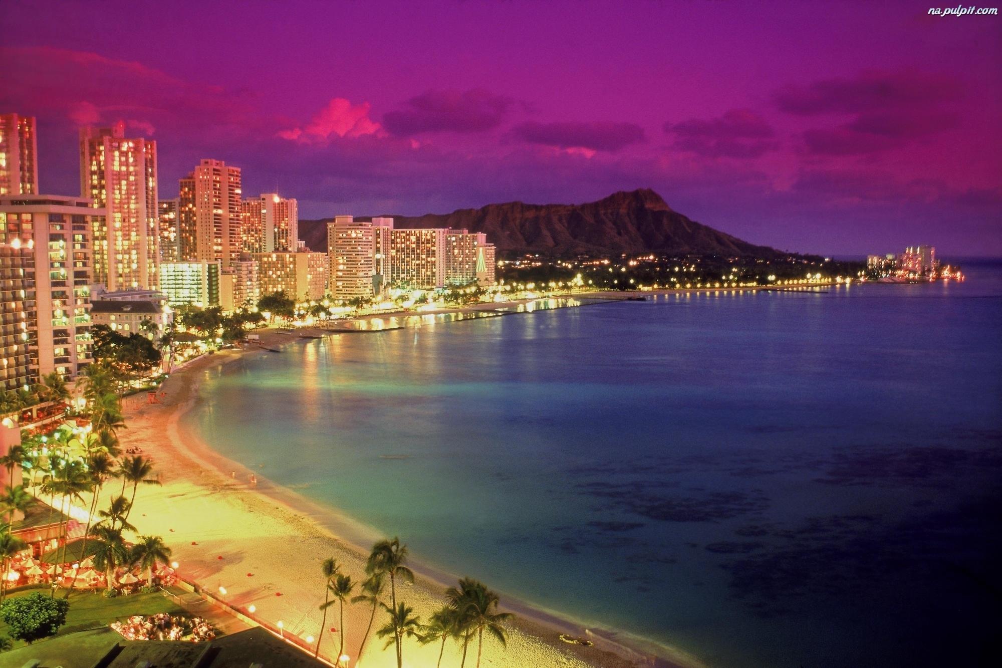 Słońca hawaje waikiki wyspa zachód